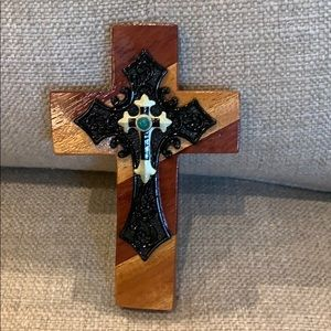 "7"" Handmade Wood Cross Black & Turquoise Accents"